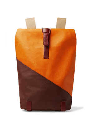 Brooks England - Pickwick Small Leather-Trimmed Patchwork Coated Cotton-Canvas Backpack - Men - Orange
