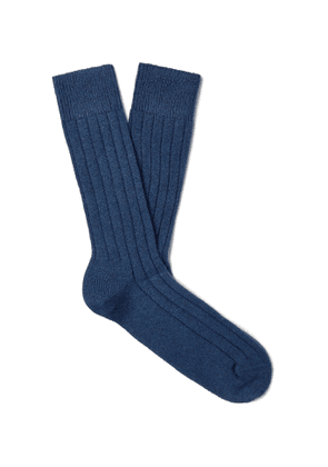 MARCOLIANI - Ribbed Cashmere-Blend Socks - Men - Blue