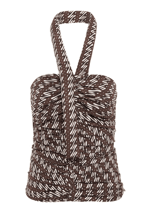 Bassike Ruched Printed Cotton Halter-Neck Top