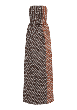 Bassike Printed Cotton Strapless Maxi Dress
