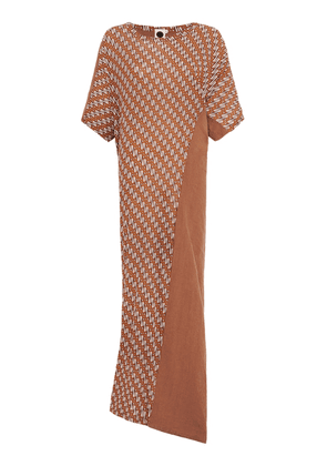 Bassike Spliced Linen And Printed Cotton Jersey Maxi Dress