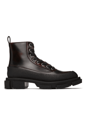 both Burgundy Second/Layer Edition Brushed Combat Boots