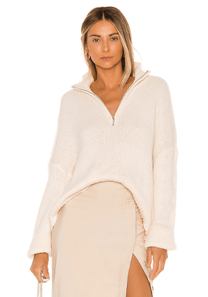 L'Academie Oliver Zip Up Sweater in Ivory. Size M, S, XS.
