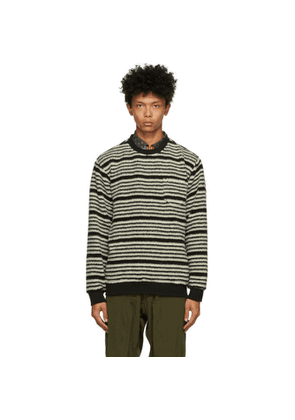 BEAMS PLUS Black and Off-White Fleece Striped Sweater