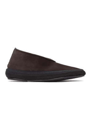 The Row Brown Shearling Fairy Loafers