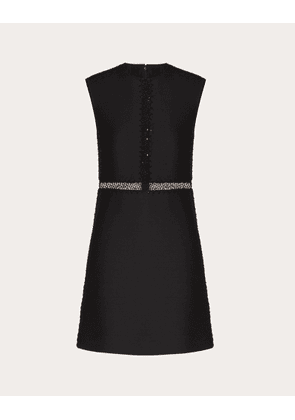 Valentino Short Embroidered Crepe Couture Dress Women Black Virgin Wool 65%, Silk 35% 38