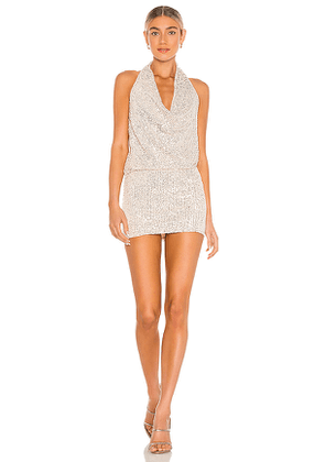Lovers + Friends Lyon Halter Dress in Metallic Silver. Size L.