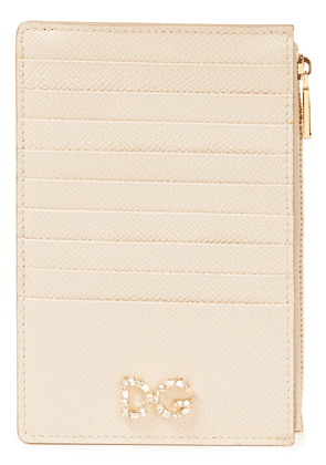 Dolce & Gabbana Crystal-embellished Textured-leather Cardholder Woman Neutral Size --