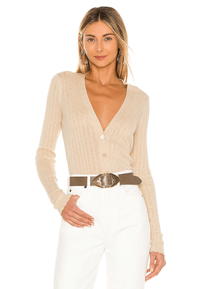 Autumn Cashmere Variegated Rib V Neck Cardigan in Cream. Size S, XS.