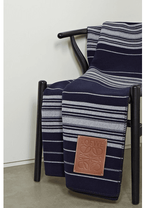 Loewe - Leather-trimmed Striped Wool, Cashmere And Silk-blend Blanket - Midnight blue