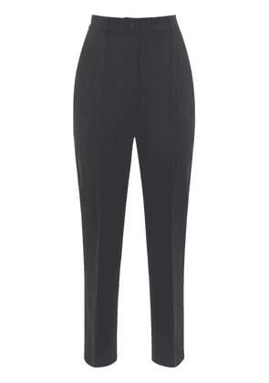 High Waist Stretch Wool Straight Pants