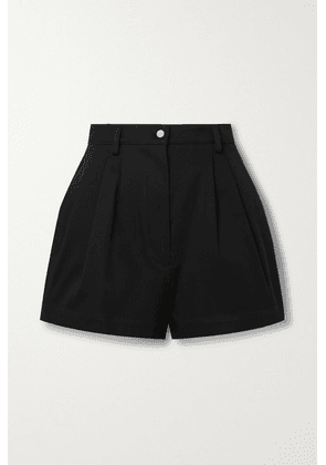 Alaïa - Pleated Cotton-gabardine Shorts - Black