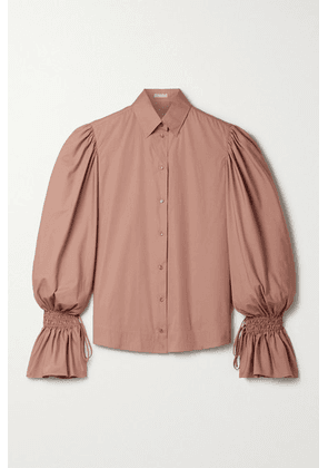 Alaïa - Shirred Cotton-poplin Blouse - Antique rose