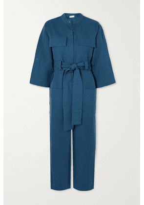 APIECE APART - Kiva Cropped Belted Linen And Cotton-blend Twill Jumpsuit - Blue