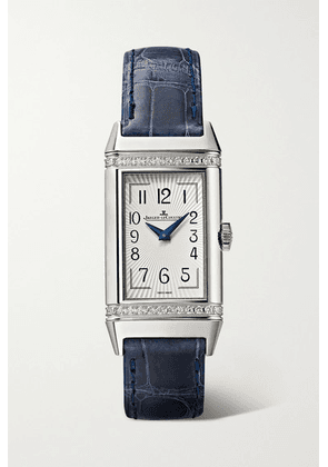 Jaeger-LeCoultre - Reverso One Duetto 20mm Stainless Steel, Diamond And Alligator Watch - Silver