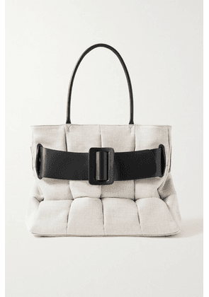 BOYY - Bobby Buckled Leather-trimmed Quilted Cotton-canvas Tote - Light gray