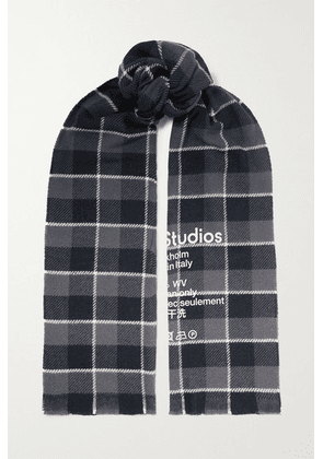 Acne Studios - Printed Checked Wool Scarf - Black