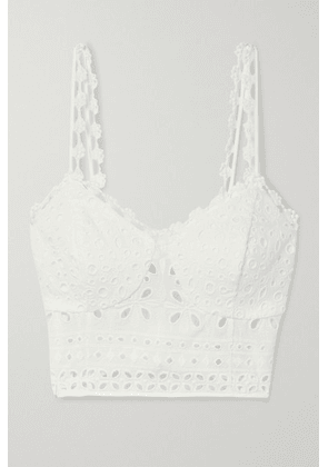 Charo Ruiz - Anne Cropped Broderie Anglaise Cotton-blend Top - White