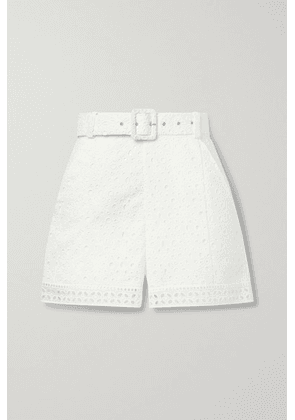 Charo Ruiz - Olive Belted Broderie Anglaise Cotton-blend Shorts - White