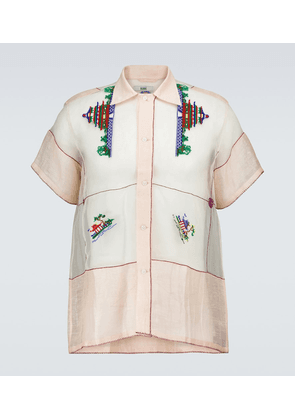 Sheer cotton pagoda printed shirt