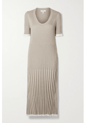 CASASOLA - Pleated Ribbed Silk And Cotton-blend Midi Dress - Sand