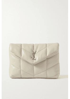SAINT LAURENT - Loulou Puffer Small Quilted Leather Clutch - White