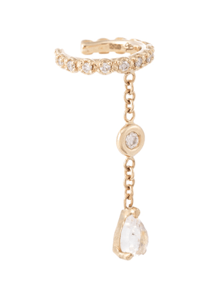 14kt gold ear cuff with diamonds and moonstone