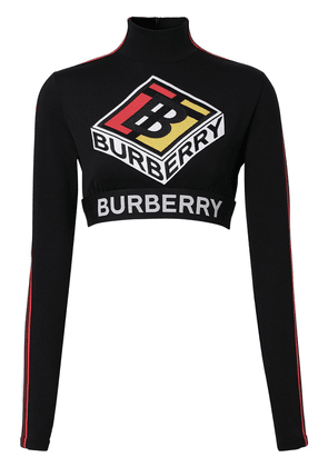 Burberry graphic logo stretch crop top - Black