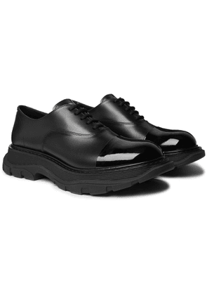 ALEXANDER MCQUEEN - Cap-Toe Smooth and Patent-Leather Derby Shoes - Men - Black