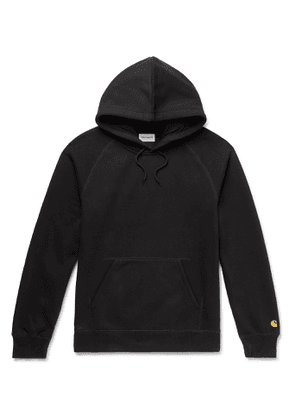 CARHARTT WIP - Chase Logo-Embroidered Fleece-Back Cotton-Blend Jersey Hoodie - Men - Black
