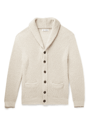 Brunello Cucinelli - Shawl-Collar Contrast-Tipped Ribbed Cotton and Linen-Blend Cardigan - Men - Neutrals