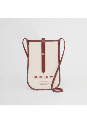 Burberry Horseferry Print Cotton Canvas Phone Case with Strap, Natural