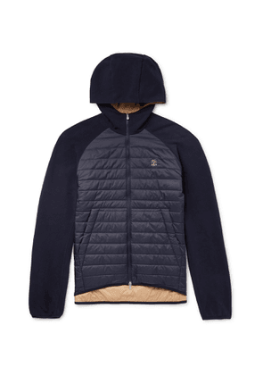 Brunello Cucinelli - Quilted Nylon and Jersey Thermore Ecodown Hooded Jacket - Men - Blue