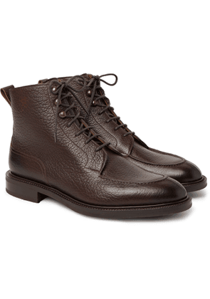 EDWARD GREEN - Cranleigh Shearling-Lined Full-Grain Leather Boots - Men - Brown - UK 7