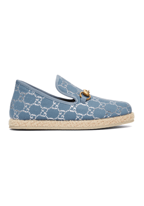 Gucci Blue Lame GG Horsebit Loafers