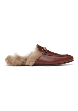 Gucci Burgundy Princetown Loafers