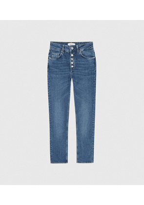 Reiss Bailey - Mid Rise Slim Cropped Jeans in Mid Blue, Womens, Size 24