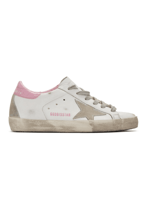 Golden Goose SSENSE Exclusive White and Pink Cracked Superstar Sneakers