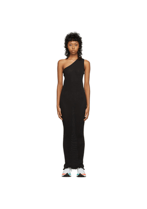 PRISCAVera SSENSE Exclusive Black One-Shoulder Pleated Dress