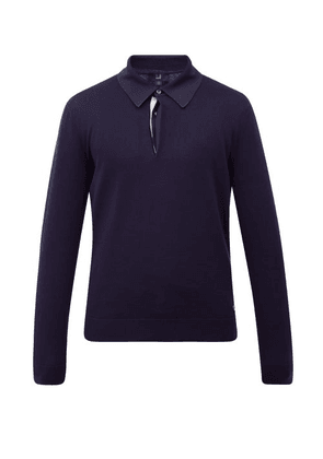 Dunhill - Long-sleeved Cotton Polo Shirt - Mens - Navy