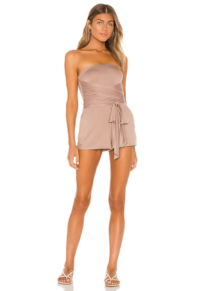 Lovers + Friends Sunshine Romper in Taupe. Size M, S.