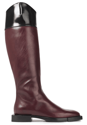 Alexander Mcqueen Two-tone Leather Knee Boots Woman Merlot Size 40.5
