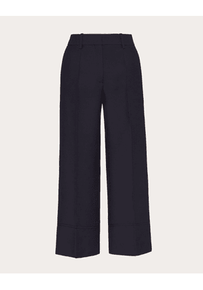 Valentino Vgold Crepe Couture Pants Women Navy Virgin Wool 65%, Silk 35% 40