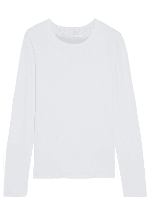 Dkny Embroidered Stretch-cotton And Modal-blend Jersey Top Woman White Size L