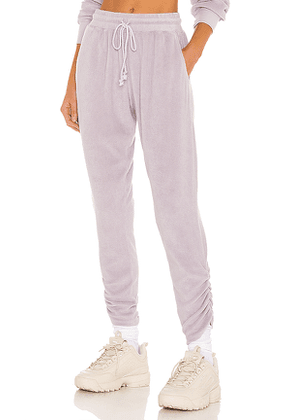 Lovers + Friends Landry Terry Drawstring Pant in Lavender. Size XL, XS.