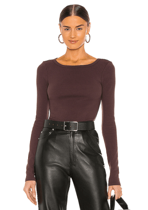 Lovers + Friends Fitted Long Sleeve Top in Chocolate. Size M, S, XS, XXS.