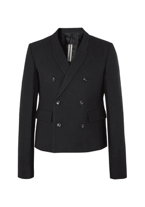 RICK OWENS - Double-Breasted Cotton and Wool-Blend Flannel Blazer - Men - Black