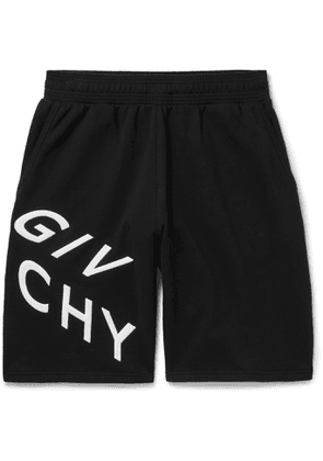 GIVENCHY - Wide-Leg Logo-Embroidered Loopback Cotton-Jersey Shorts - Men - Black