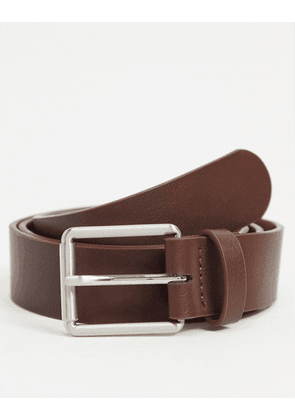 ASOS DESIGN wide belt in brown faux leather with burnished silver roller buckle