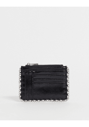 ASOS DESIGN chain edge purse with cardholder-Black